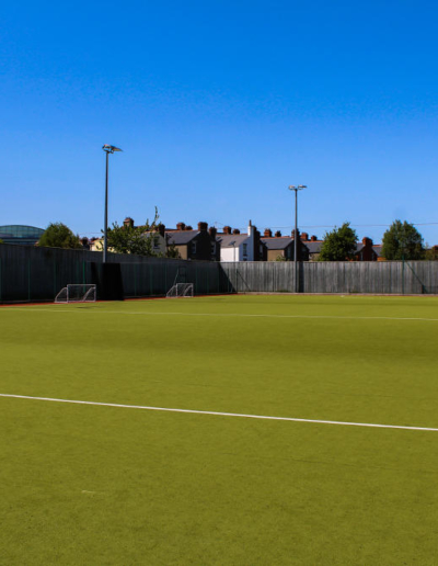 A full view on a football pitch that is available for rent throughout the week. The pitch is located in Dublin 4 Sandymount.