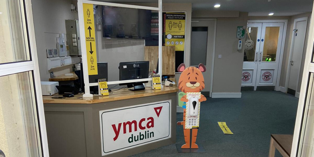 Front entrance of the YMCA Dublin building. Showing the new procedures of entering the building due to COVID-19.